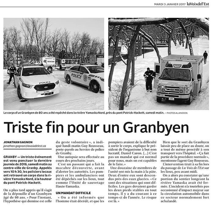 Triste fin pour un Granbyen Source: La Voix de l'Est