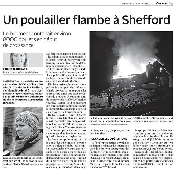Un poulailler flambe à Shefford Source: La Voix de l'Est
