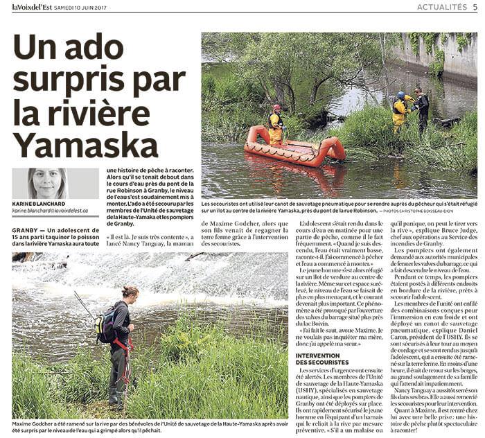 Un ado surpris par la rivière Yamaska
